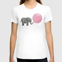 pink T-shirts featuring Jumbo Bubble Gum  by Terry Fan