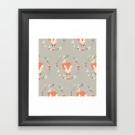 Baby Fox Pattern 02 Framed Art Print