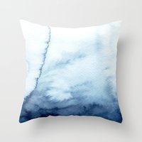 indigo shibori 07 Throw Pillow