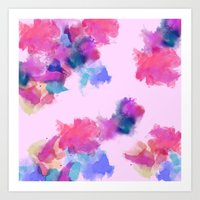 Printed Silk Rose Clouds Art Print