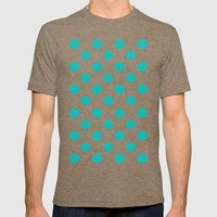 Polka Dots (Tiffany Blue/White) Mens Fitted Tee Tri-Coffee SMALL