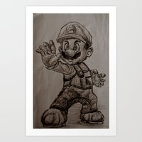 mario Art Prints featuring Mario by Hannahcat