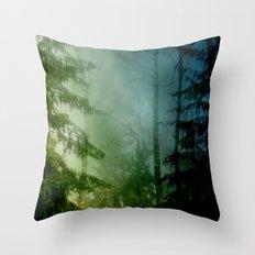 Blue pines Throw Pillow