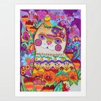 FLOWER CATT Art Print
