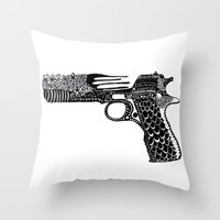 Flower Gun  Throw Pillow