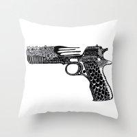 Flower Gun  Throw Pillow