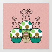 Cute Monster With Green And Brown Polkadot Cupcakes Canvas Print