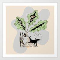 Black Dog And His Rabbit… Art Print