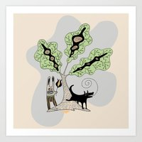 Black Dog and his Rabbit Friend Art Print