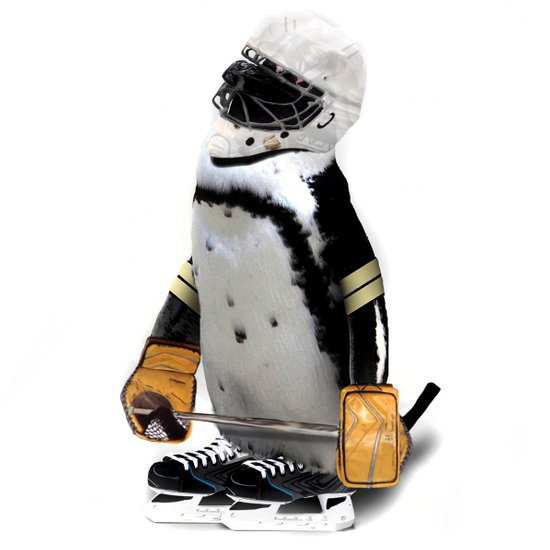 Little Mascot Hockey Player Penguin Art Print
