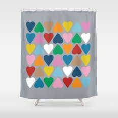 Up and Down Hearts on Grey Shower Curtain