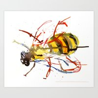 bee Art Prints featuring Bee by Lauren Thawley