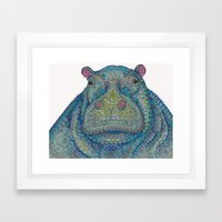 Hippie-Potamus (Blue) Framed Art Print