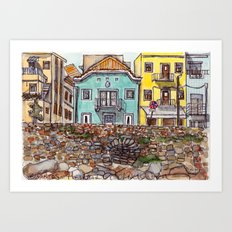 Buarcos Buildings, Portugal Art Print
