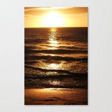 Golden Sun Waves Canvas Print