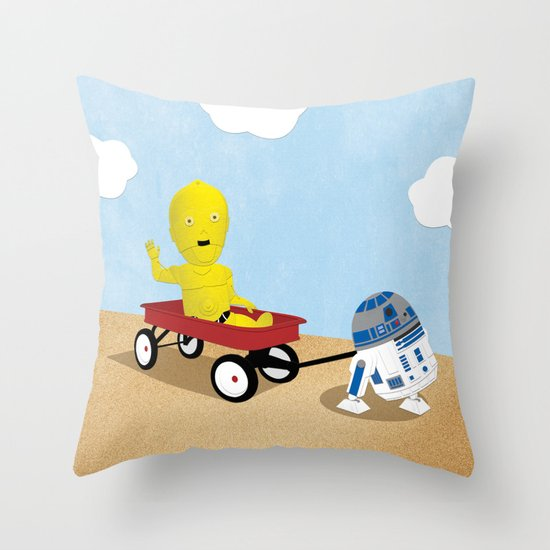 SW Kids - C3PO & R2D2 Red Wagon Throw Pillow