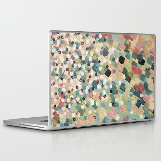 SWEPT AWAY 4 - Lovely Shabby Chic Soft Pink Ocean Waves Mermaid Splash Abstract Acrylic Painting Laptop & iPad Skin