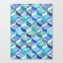 Patchwork Ribbon Ogee Pattern in Blues & Greens Canvas Print