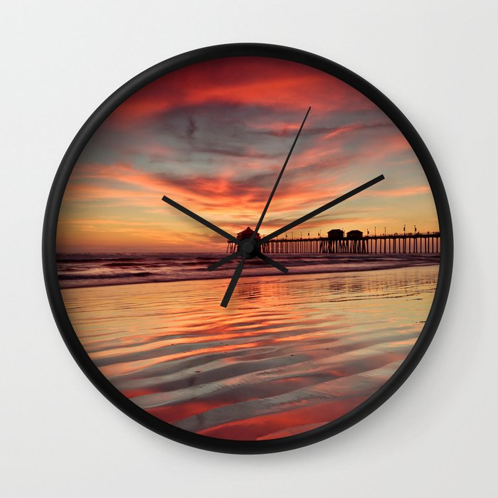 Huntington Beach Wall Decor : Huntington beach sunset wall clock by john minar