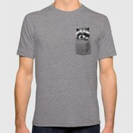 Raccoon  Mens Fitted Tee Tri-Grey 2X-LARGE