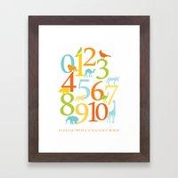 Animal Numbers -  Sandbox colorway Framed Art Print
