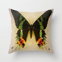 Sunset Moth Wing Throw Pillow