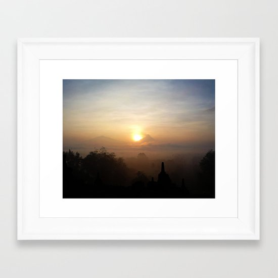 Sunrise at Borobudur, Indonesia  Framed Art Print