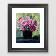 Roses In Black Vase Framed Art Print