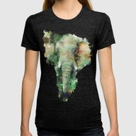 Watercolor Elephant Womens Fitted Tee Tri-Black X-LARGE