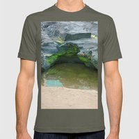 Moss on  rocks with puddle on the East Coast of Queensland, Australia Mens Fitted Tee Lieutenant SMALL