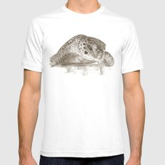 A Green Sea Turtle :: Earthtones Mens Fitted Tee White SMALL