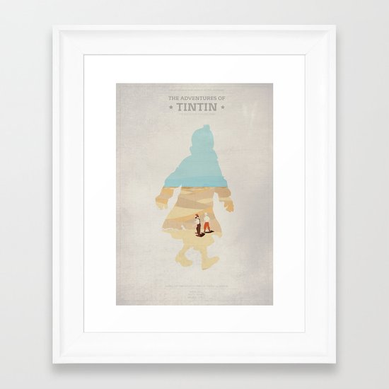 The Adventures Of Tintin - The Secret Of the Unicorn - Minimal poster Framed Art Print
