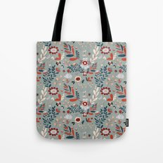 Deep Indigos & Gray Garden Hearts Tote Bag