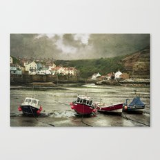 Staithes From The Harbour. Canvas Print