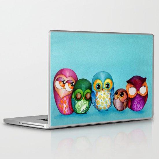 Fabric Owl Family Laptop & iPad Skin