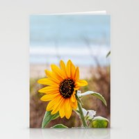 Sunflower near ocean Stationery Cards