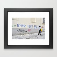 Feminism Fights Back Framed Art Print