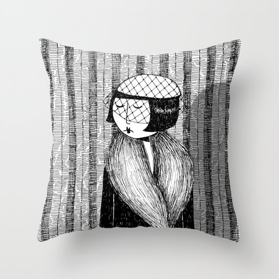 She thought of her cats and wished she was home Throw Pillow