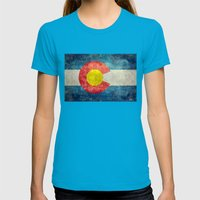 Colorado State Flag Womens Fitted Tee Teal SMALL