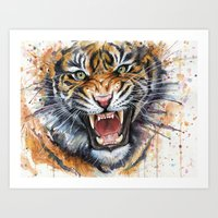 tiger Art Prints featuring Tiger by Olechka