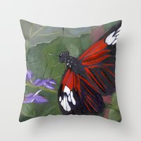 Red And Black Butterfly Throw Pillow