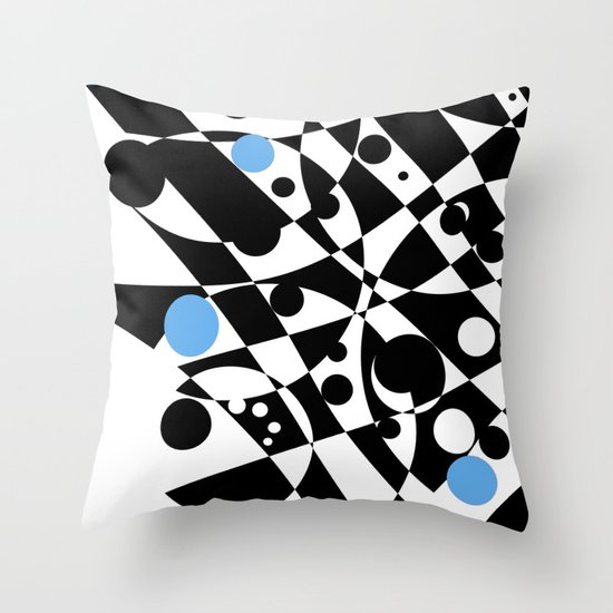 Black and Blue and White All Under Throw Pillow