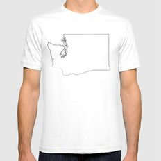 SEATTLE WASHINGTON//THREE White Mens Fitted Tee SMALL