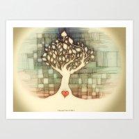 Tree And Heart Art Print