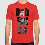 Bob Dylan Font Black And… Mens Fitted Tee Red SMALL