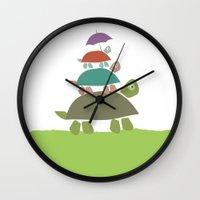 Turtles In The Rain Wall Clock