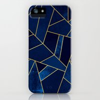 iPhone 5s & iPhone 5 Cases featuring Blue stone with gold lines by Elisabeth Fredriksson