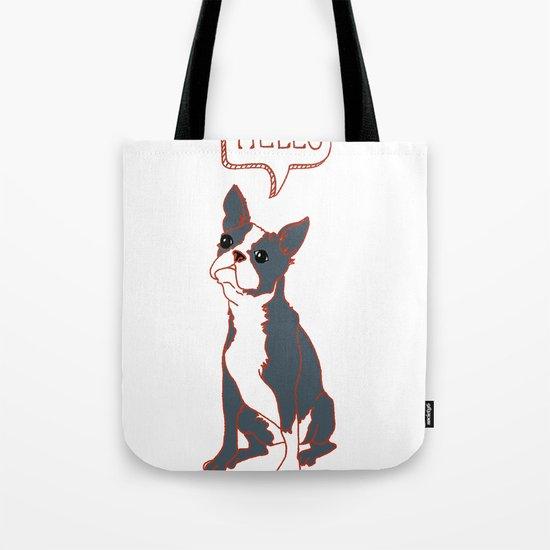 Boston Terrier, Hello, Red, Black, Grey Tote Bag