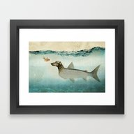 Framed Art Print featuring Dog Fish by Vin Zzep
