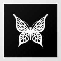 Butterfly White On Black Canvas Print
